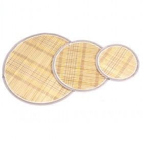 Yellow Beige Round Bamboo Eco-friendly Placemat Set Of 3 Table Mats
