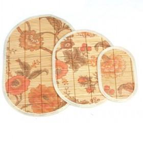 Oval Flower Pattern Prints Bamboo Eco-friendly Placemat Set Of 3