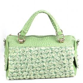 Hot Sale PU Bags, Satchel Bags, Green Hand Bag With Full Flower Attachment