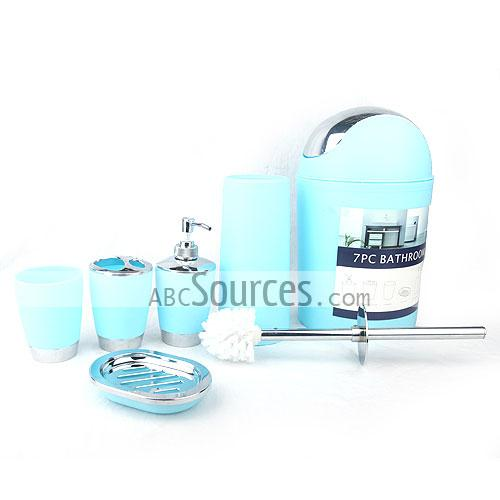 6 Piece Light Peacock Blue Bathroom Accessory Sets