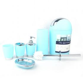 Beautiful 6 Piece Light Peacock Blue Bathroom Accessory Sets