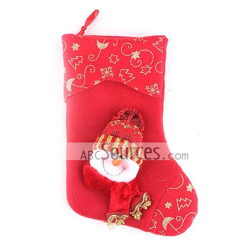 red with gold embroidery decorative snowman christmas stocking - Wholesale Christmas Stockings