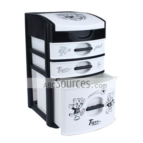 wholesale Black White 3 Drawers Plastic Storage Organizer LC081511097