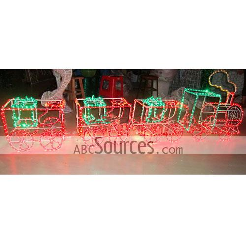 mini cute christmas oriented green and red train design led lights
