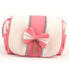 Classic Design Fashionable White And Pink Double-layer Rivet Portable Multifunctional Cosmetic Makeup Bag