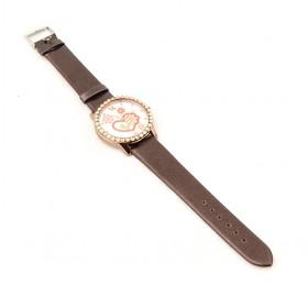 Fashionable Brown Classic Design Floral And Heart Decorative Ladies Watch