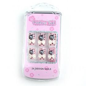 Fashionable Lovely Pink Bowtir Fake Nail Set