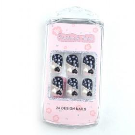 Pink Artificial Heart Fake Nail Set