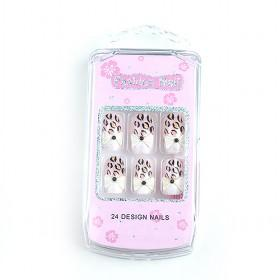 Hotsale Popular White With Colorful Spots Decorative Fake Nail Set