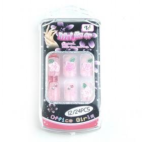 New Design Pink Theme Fake Acrylic Nail Set