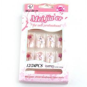 Discount Floral Decorative Fake Nail Set