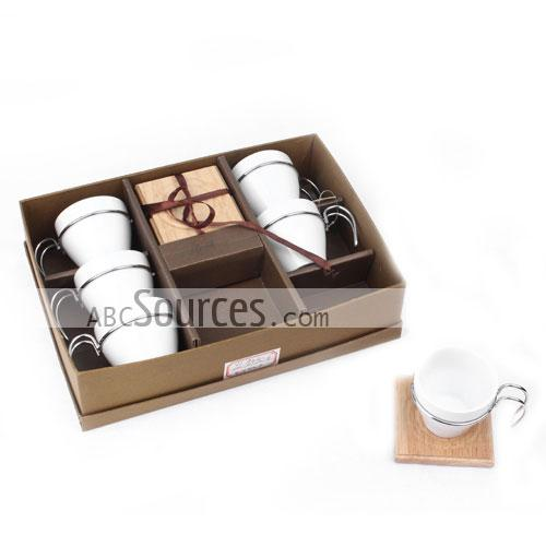 wholesale coffee cup set of 6 cups with metal handle wooden