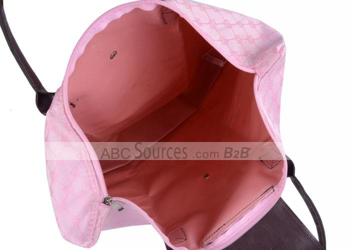 Light Pink Plaid Sweet Design Large Volume Zipping Handle Lifting Renewable Shopping Bags