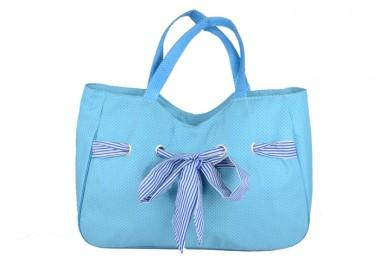 Large Size Modern Blue Multifunctional Nice Design Handle Lifting Renewable Shopping Bags With Bowtie