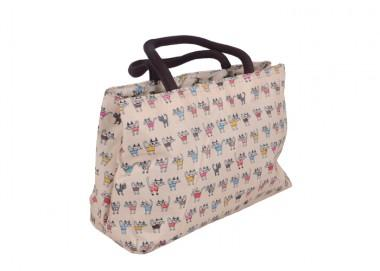 Cute Cat Printing Beige Mini Size Multifunctional Renewable Shopping Bag
