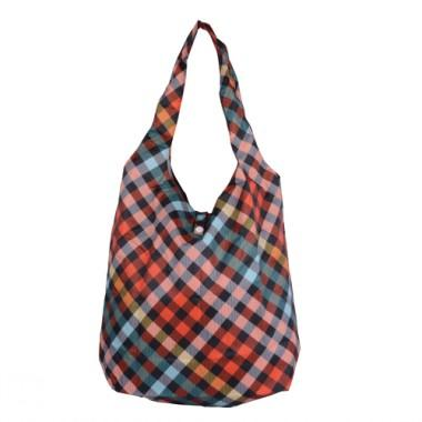 Modern Orange And Blue Plaid Stylish Practicable And Portable Renewable  Shopping Bags 351f164d50