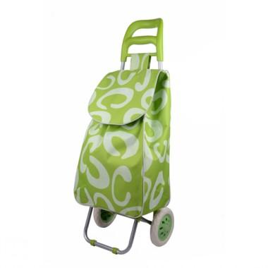 Good Quality Green Letters Prints Portable And Practical Non-woven Steel Renewable Shopping Cart