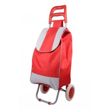 Simple Design Red And Grey Decorative Non-woven Practical And Portable Renewable Shopping Cart