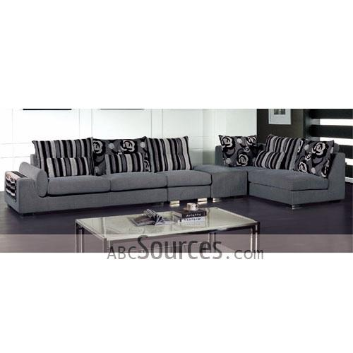 Wholesale New Design Light Grey Stripes Prints Decorated Fabric Sofa
