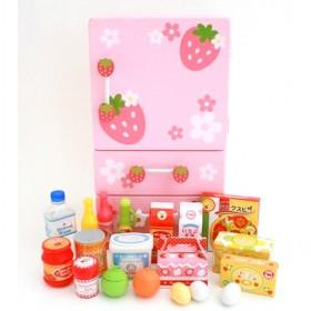 Pink With Strawberry Printed Children Simulation Kitchen Pretend Toys With Light And Sound