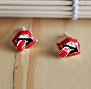 Red Hot Lips Stud Earrings