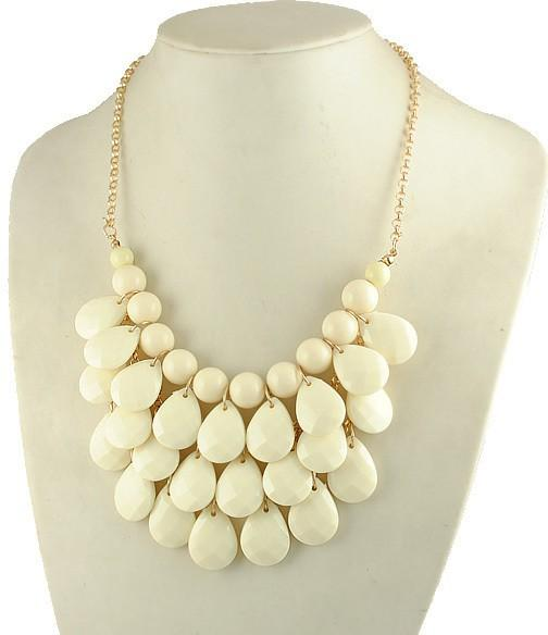 Fashion Ivory Teardrop Statement Bubble Bib Necklace