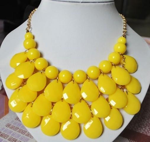 Hot Yellow Bubble Bib Necklace Earrings Set Jewelry Set