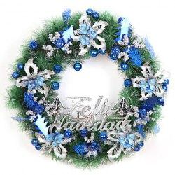 hot sale style blue flowes and beads embellished christmas wreath for christmas - Christmas Wreath Decorations Wholesale