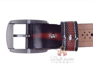 Mens CrazyHorse Leather Center Strip Belt