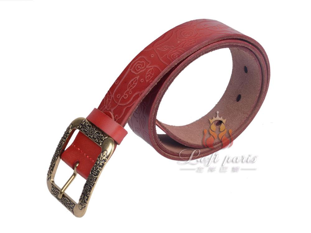 Ladies genuine leather belt with pin buckle