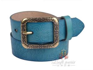 Ladies Embossed Alloy Knurling Buckle Jeans Belt