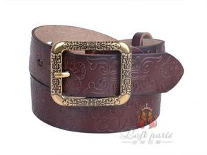 Ladies Wide Leather Jeans Belt with Alloy Buckle