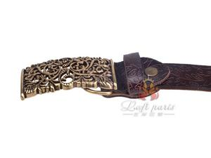Womens pure leather belt with smooth buckle
