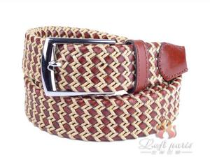 Leather Covered Buckle Woven Elastic Stretch Belt