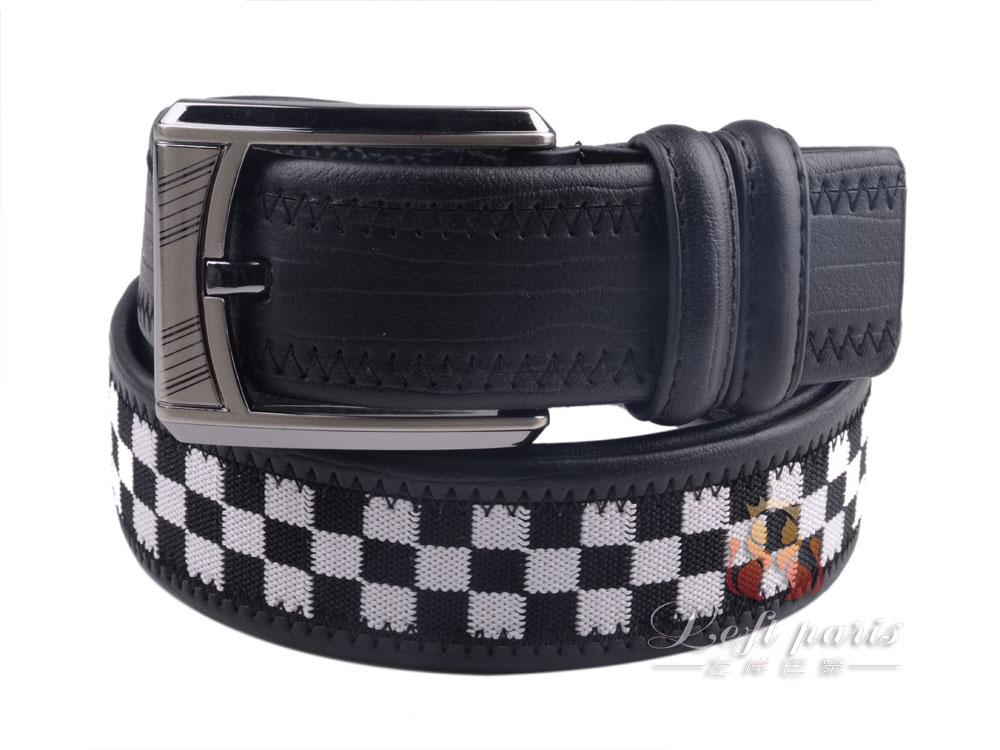 Cowhide Pin Buckle Woven Leather Belt