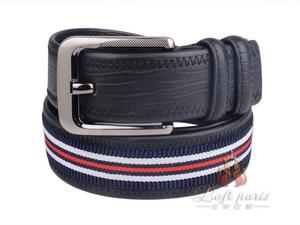 Men Woven Leather belt with pin buckle