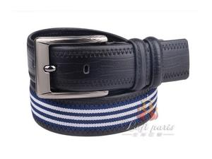 Black Woven Cowhide Leather Belt
