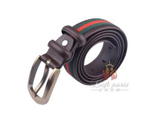 Men Han edition woven leather belt with alloy buckle