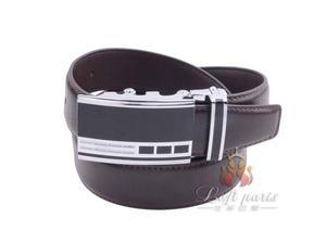 Men genuine leather automatic buckle business belt