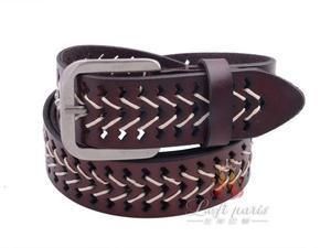 Lady threading genuine leather pin buckle belt
