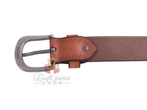Lady genuine leather printing pin buckle belt