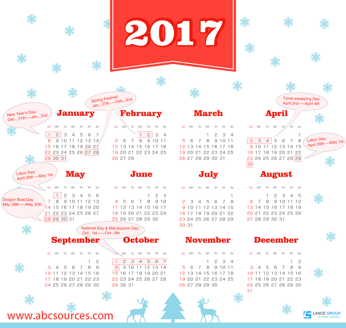 calendar 2017,national holidays of China